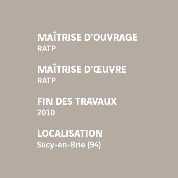 Fiche d'identité de l'atelier de maintenance RATP de Sucy-en-Brie
