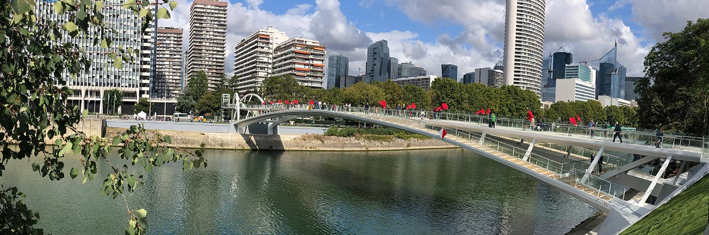 Vue de la passerelle de Puteaux lors de son inauguration en septembre 2019