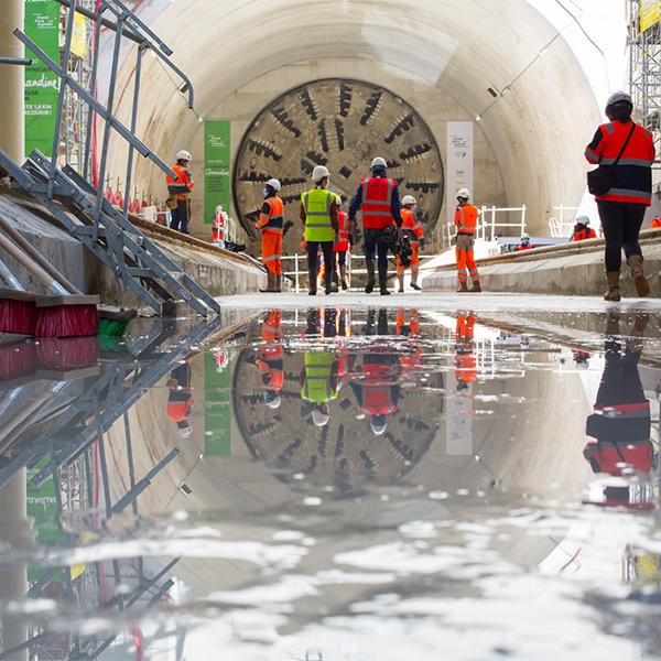 Sortie du tunnelier Amandine à la gare Villejuif Institut Gustave Roussy