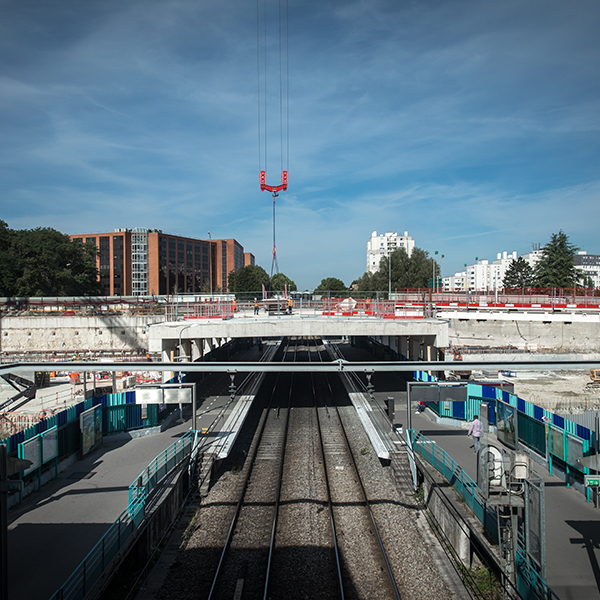 Vue du chantier de la Ligne 15 sud, lot T2D en juillet 2020