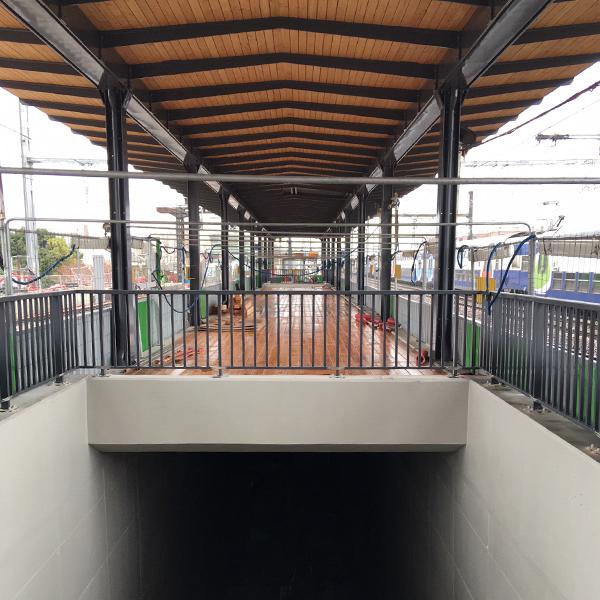 Vue du chantier de la gare de Vert-de-Maisons