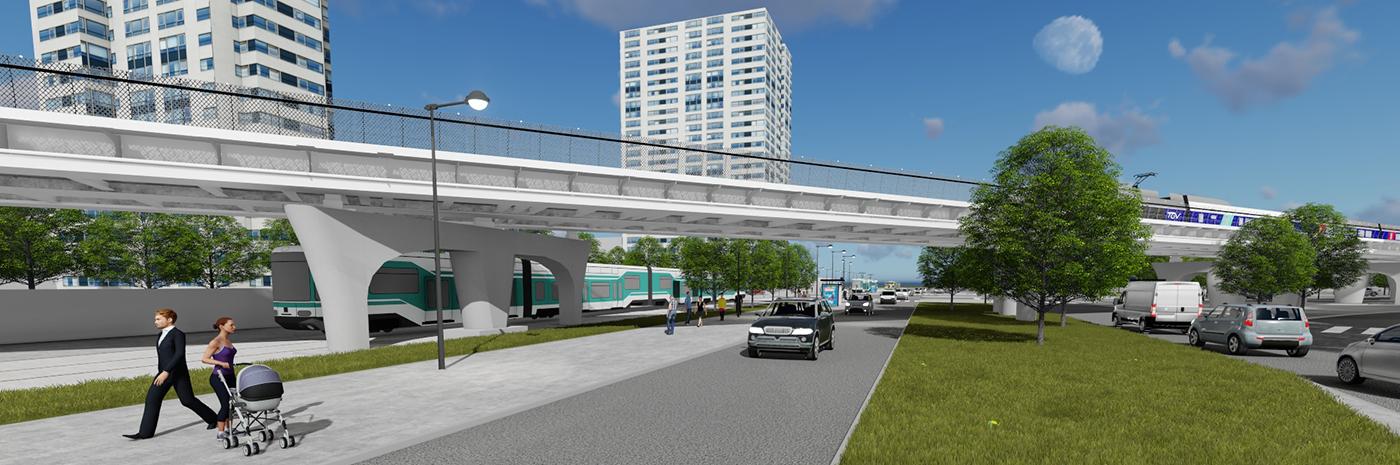 Vue 3D du futur viaduc ferroviaire