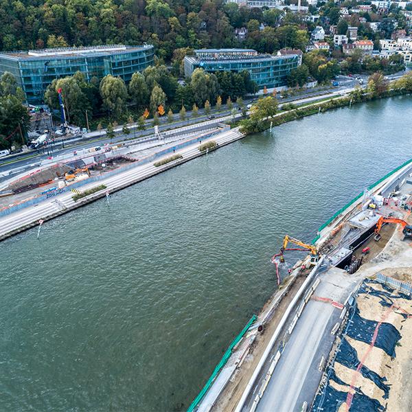 Chantier du pont Seibert en octobre 2020