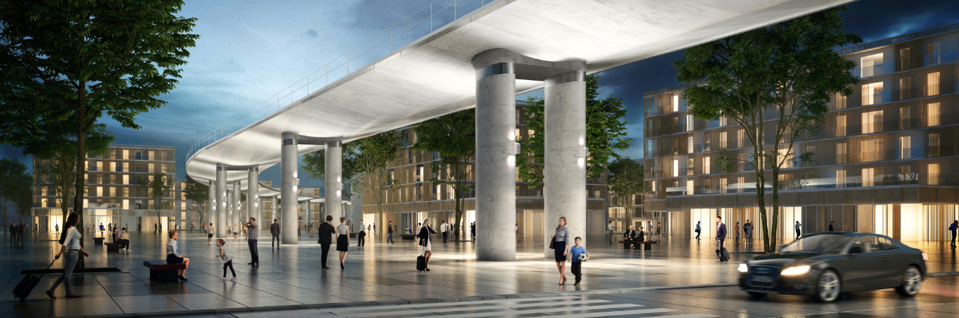 Vue 3D de viaduc de la Ligne 18 à Orsay