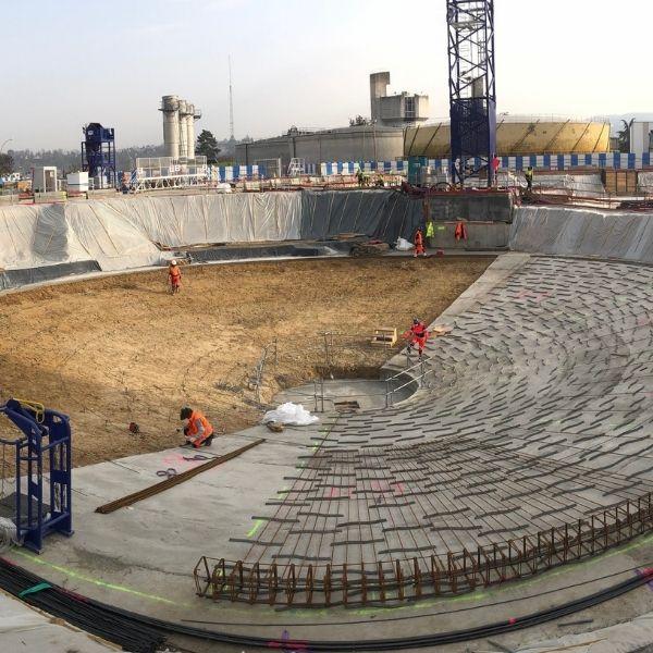 Fondations d'un digesteur de la station d'épuration Seine Aval d'Achères - Biogaz - Mars 2021