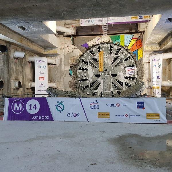 Arrivée du tunnelier Allison en gare de Maison Blanche-Paris XIIIe le mercredi 3 mars 2021