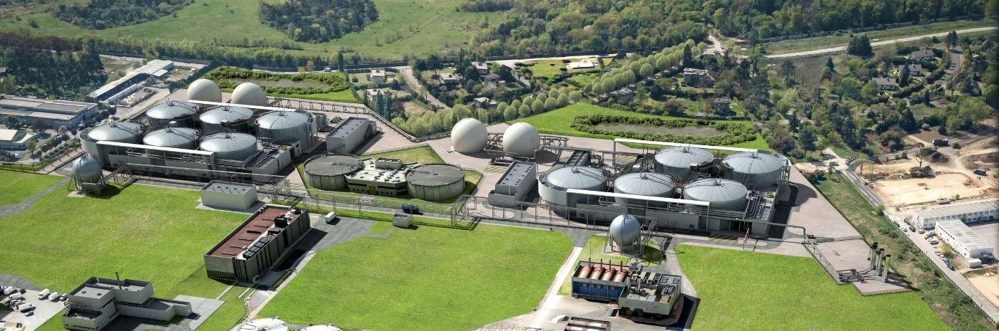 Vue aérienne 3D - Station d'épuration Seine Aval d'Achères - Biogaz