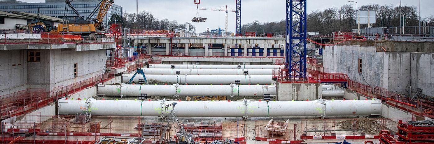 Vue globale du chantier de la Gare de Noisy-Champs - Ligne 15 Lot T2D Janvier 2021