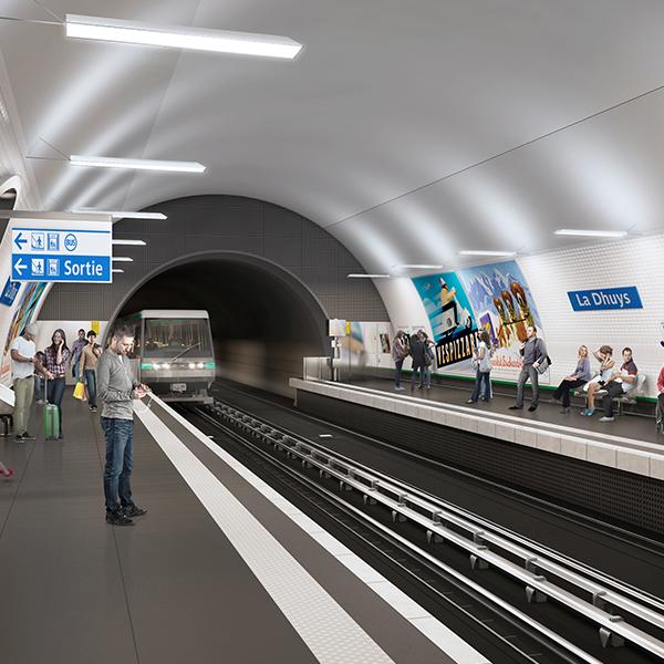 Vue de la future station de La Dhuys sur le prolongement de la ligne 11 du métro